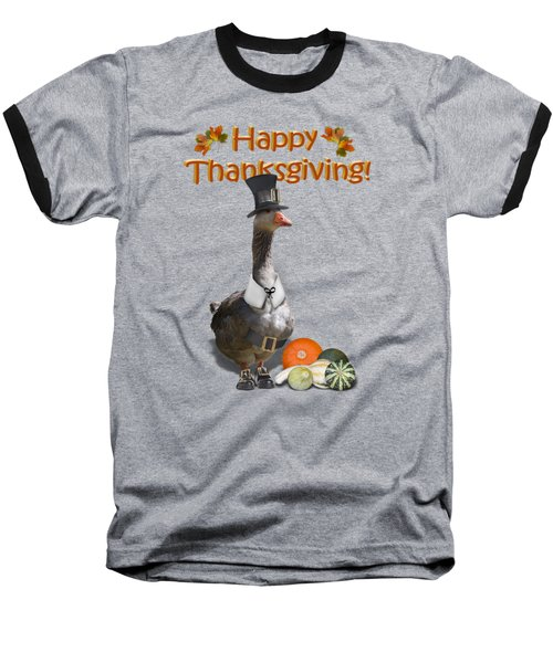 Thanksgiving Pilgrim Goose Baseball T-Shirt