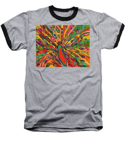 Baseball T-Shirt featuring the painting That Bloomin Peacock by Alison Caltrider