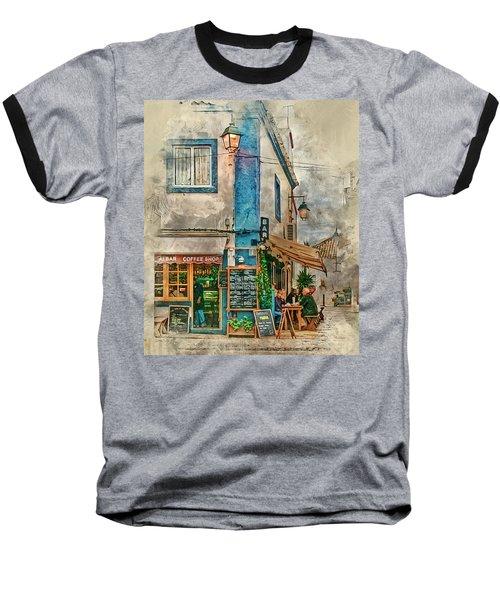 The Albar Coffee Shop In Alvor. Baseball T-Shirt by Brian Tarr