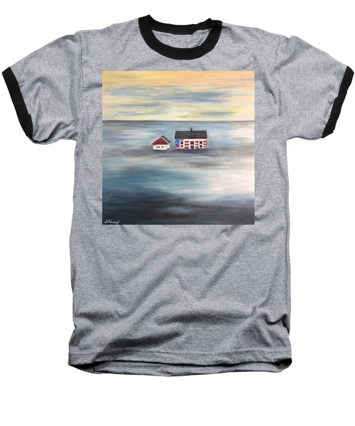 Baseball T-Shirt featuring the painting The American Dream And Climate Change by Barbara Anna Knauf