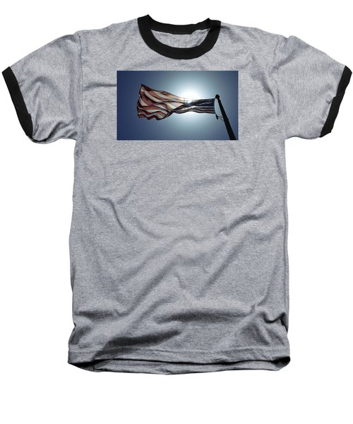 Baseball T-Shirt featuring the photograph The American Flag by Alex King