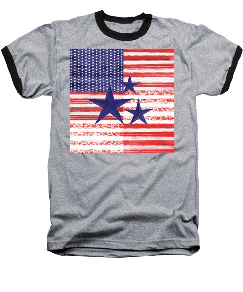 Baseball T-Shirt featuring the photograph The Americana Flag by Colleen Taylor