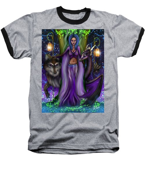 The Animal Goddess Fantasy Art Baseball T-Shirt