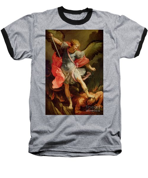 The Archangel Michael Defeating Satan Baseball T-Shirt