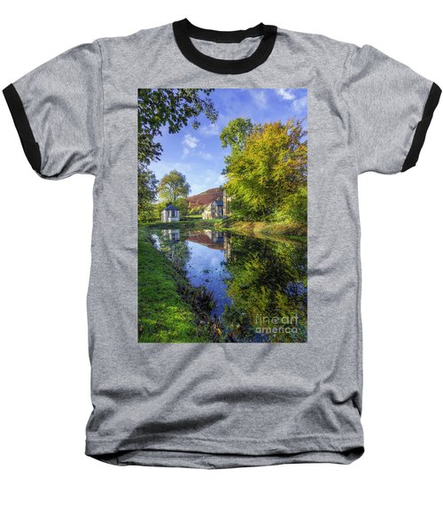 The Autumn Pond Baseball T-Shirt by Ian Mitchell