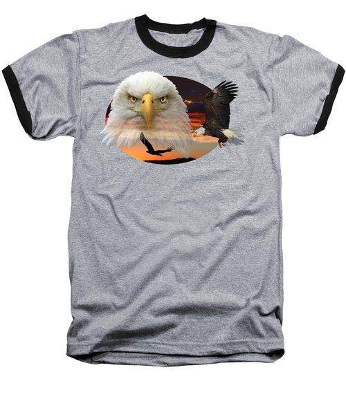 The Bald Eagle 2 Baseball T-Shirt by Shane Bechler