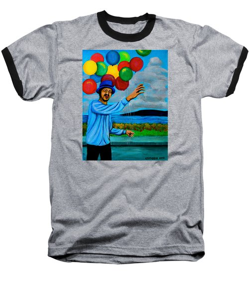 Baseball T-Shirt featuring the painting The Balloon Vendor by Cyril Maza