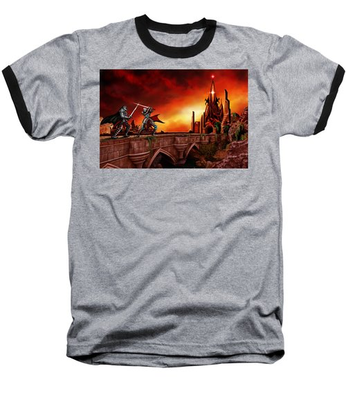 Baseball T-Shirt featuring the painting The Battle For The Crystal Castle by James Christopher Hill