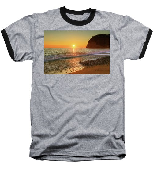 the beach and the Mediterranean sea in Montenegro in the summer at sunset Baseball T-Shirt