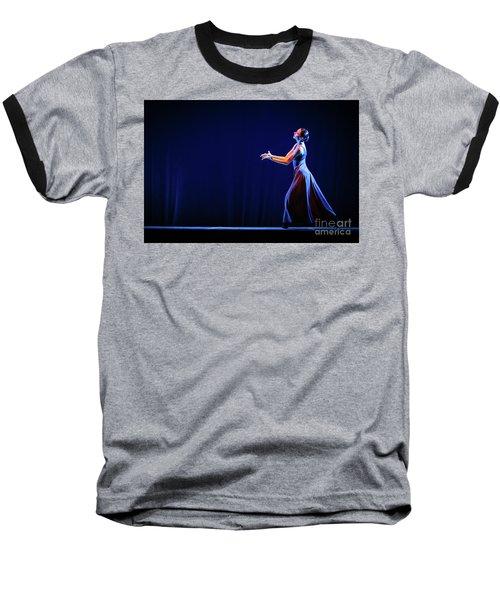 Baseball T-Shirt featuring the photograph The Beautiful Ballerina Dancing In Blue Long Dress by Dimitar Hristov