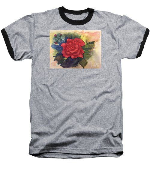 Baseball T-Shirt featuring the painting The Beauty Of A Rose by Lucia Grilletto