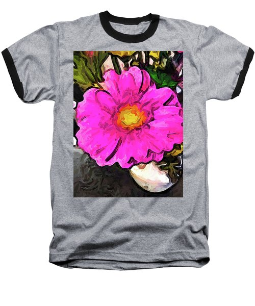 The Big Pink And Yellow Flower In The Little Vase Baseball T-Shirt