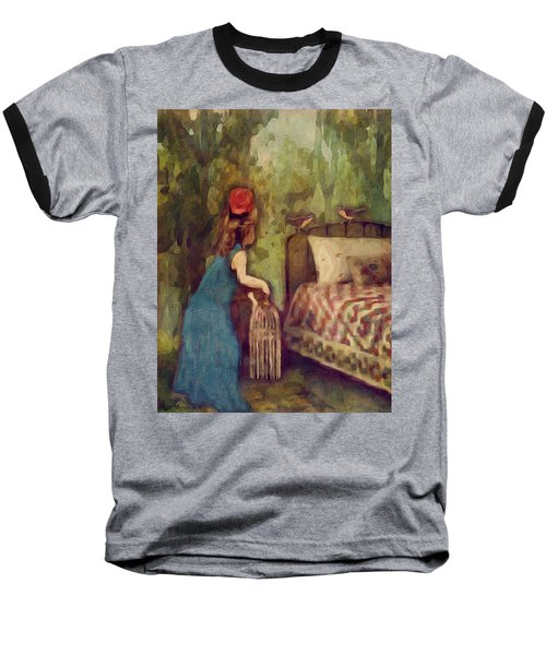 Baseball T-Shirt featuring the digital art The Bird Catcher by Lisa Noneman