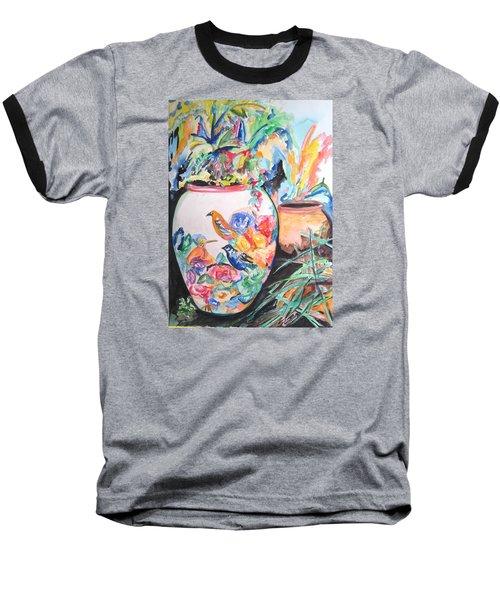 The Bird Flower Pot Baseball T-Shirt by Esther Newman-Cohen