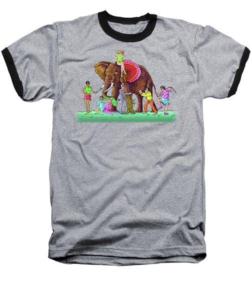 The Blind And The Elephant Baseball T-Shirt by Anthony Mwangi