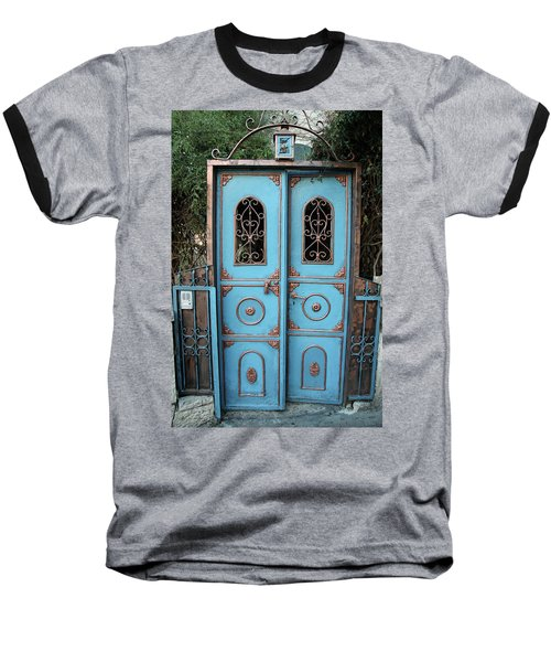 Baseball T-Shirt featuring the photograph The Blue And Gold Door Of Jerusalem by Yoel Koskas