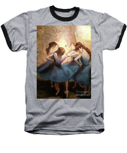The Blue Ballerinas - A Edgar Degas Artwork Adaptation Baseball T-Shirt