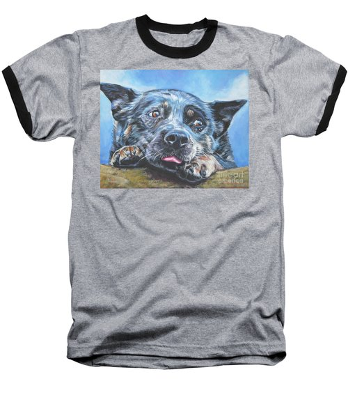 Baseball T-Shirt featuring the painting The Blue Heeler by Lee Ann Shepard