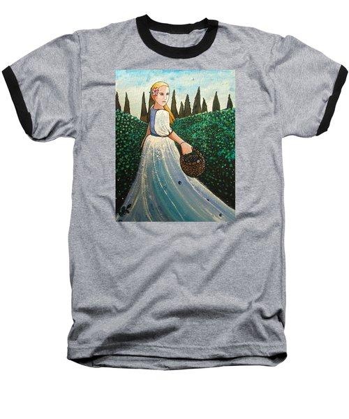 The Blueberry Harvest Baseball T-Shirt by Mary Ellen Frazee