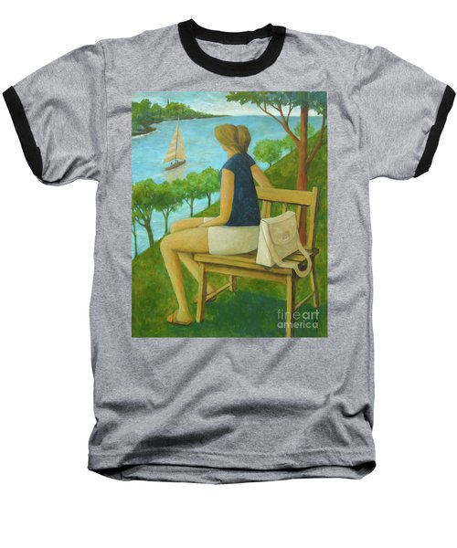 Baseball T-Shirt featuring the painting The Bluff by Glenn Quist