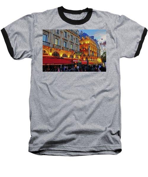 The Boulevard Saint Michel At Dusk In Paris, France Baseball T-Shirt by Richard Rosenshein