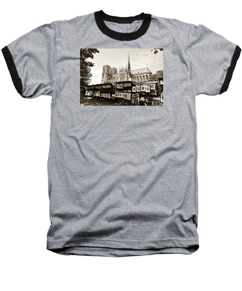 The Bouquinistes And Notre-dame Cathedral Baseball T-Shirt by Perry Van Munster