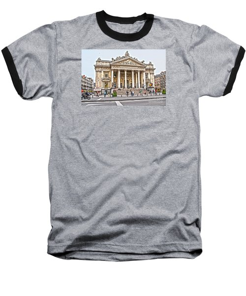 Baseball T-Shirt featuring the photograph The Bourse In Brussels by Pravine Chester