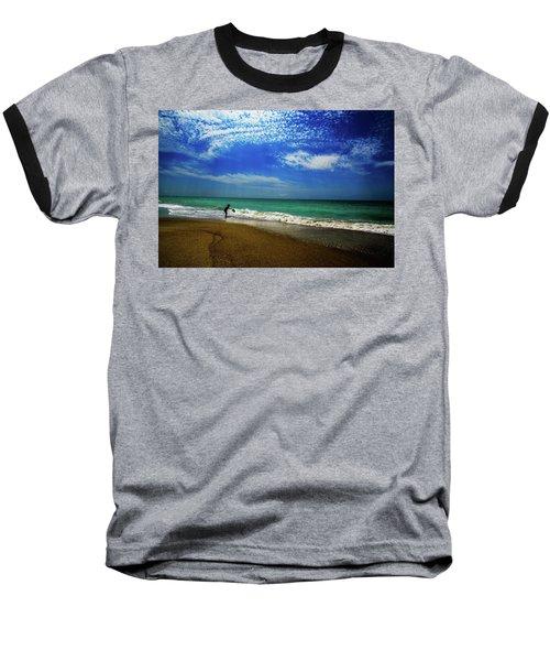 Baseball T-Shirt featuring the photograph The Boy At The Beach  by John Harding