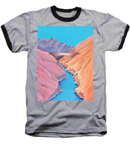 Baseball T-Shirt featuring the painting The Bridge by Elizabeth Lock