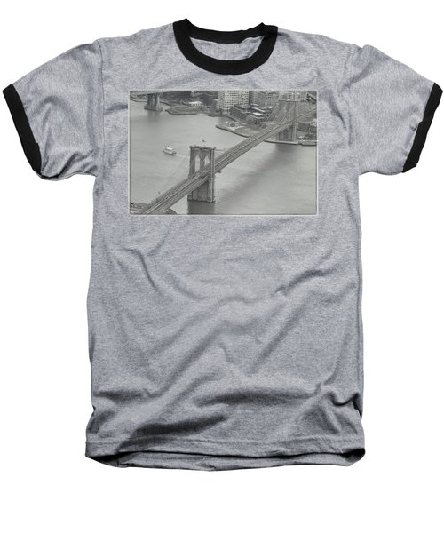 The Brooklyn Bridge From Above Baseball T-Shirt by Dyle Warren