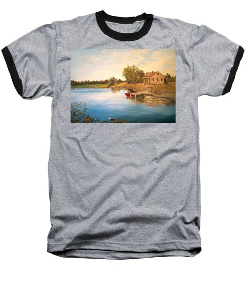 Baseball T-Shirt featuring the painting The Cabin by Alan Lakin