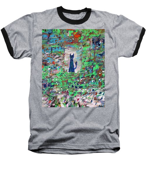 Baseball T-Shirt featuring the painting The Cat In The Garden by Fabrizio Cassetta