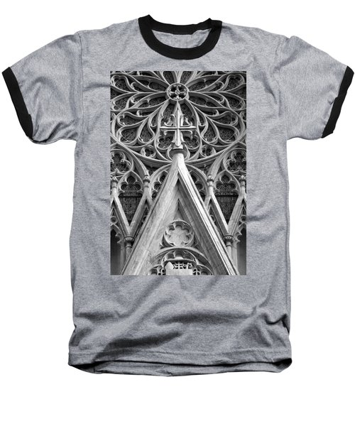 The Cathedral Of St. Patrick Close Up Baseball T-Shirt by Michael Dorn