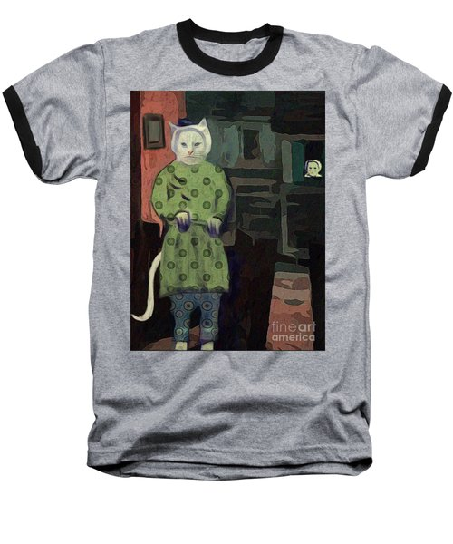 Baseball T-Shirt featuring the digital art The Cat's Pajamas by Alexis Rotella