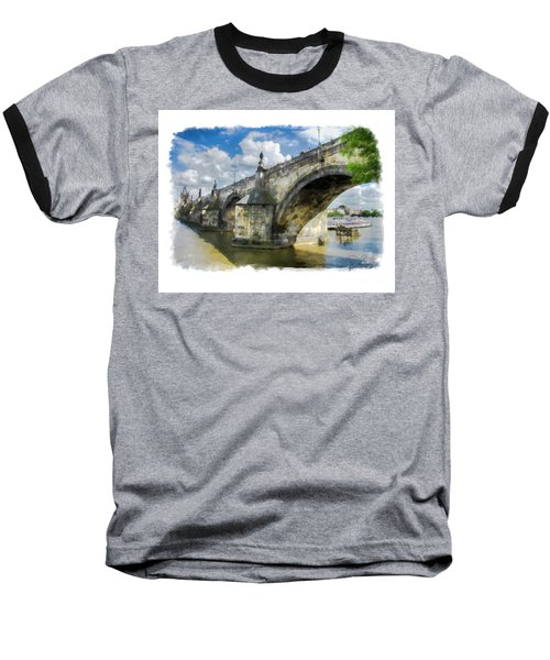 Baseball T-Shirt featuring the photograph The Charles Bridge - Prague by Tom Cameron