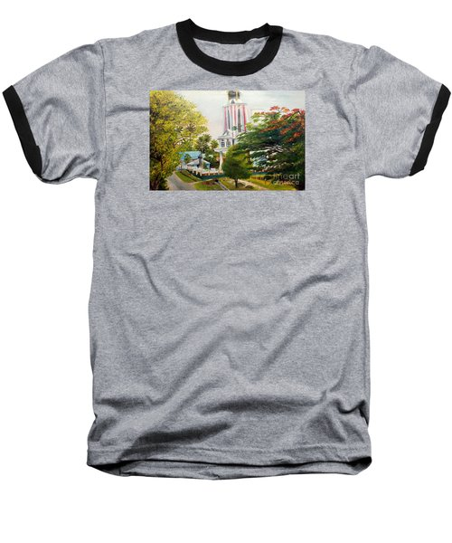 The Church In My Village Baseball T-Shirt by Jason Sentuf