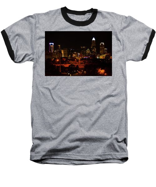Baseball T-Shirt featuring the digital art The City Of Charlotte Nc At Night by Chris Flees