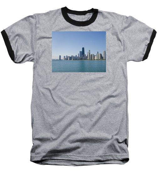 The City Of Chicago Across The Lake Baseball T-Shirt by Skyler Tipton