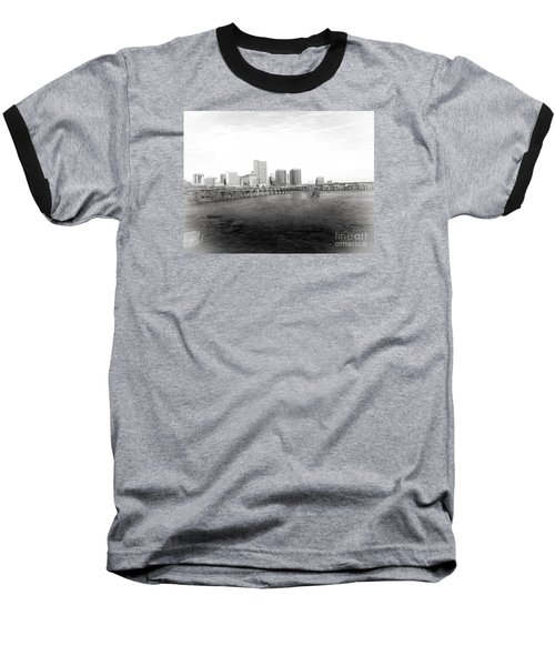The City Of Richmond Black And White Baseball T-Shirt by Melissa Messick