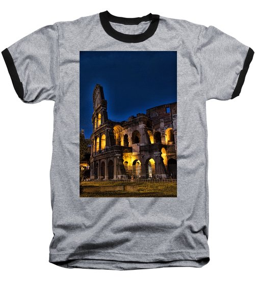 The Coleseum In Rome At Night Baseball T-Shirt by David Smith