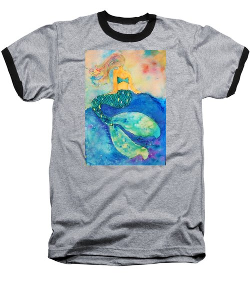 The Contemplation Of A Mermaid Baseball T-Shirt by Ann Michelle Swadener