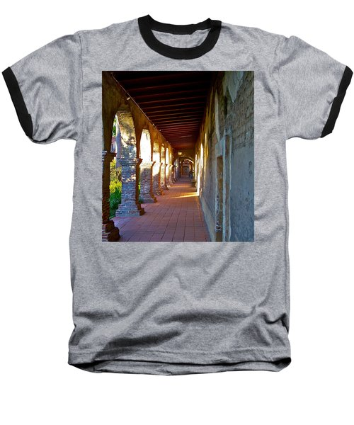 The Corridor By The Serra Chapel San Juan Capistrano Mission California Baseball T-Shirt