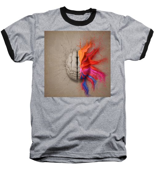 The Creative Brain Baseball T-Shirt by Johan Swanepoel