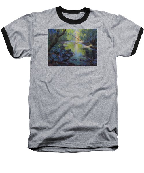 Baseball T-Shirt featuring the painting The Creek by Karen Ilari