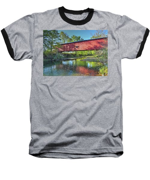 Baseball T-Shirt featuring the photograph The Crooks Covered Bridge - Sideview by Harold Rau