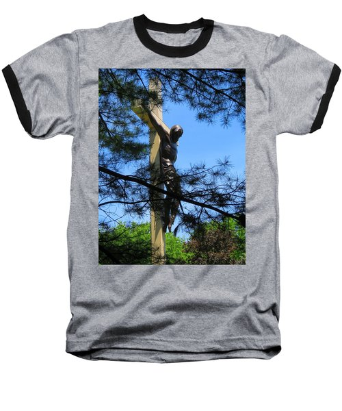 The Cross In The Woods Baseball T-Shirt by Keith Stokes