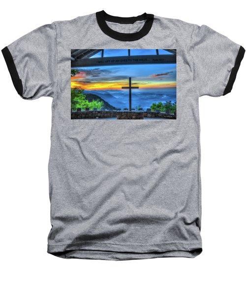 The Cross Sunrise At Pretty Place Chapel Baseball T-Shirt by Reid Callaway