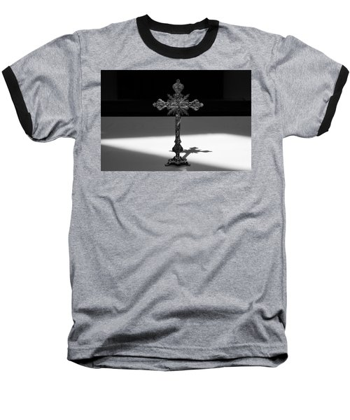 Baseball T-Shirt featuring the photograph The Cross's Shadow by Monte Stevens