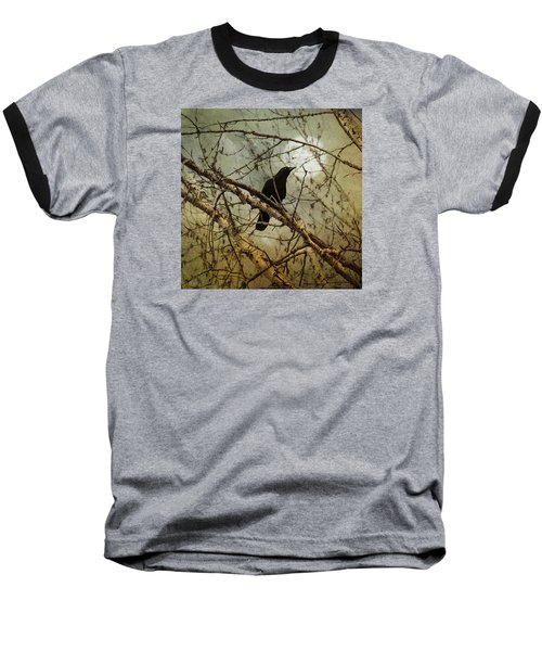 The Crow And The Moon Baseball T-Shirt