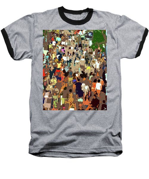 Baseball T-Shirt featuring the painting The Crowd by David Lee Thompson